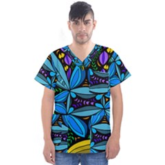 Star Polka Natural Blue Yellow Flower Floral Men s V Neck Scrub Top
