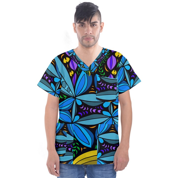Star Polka Natural Blue Yellow Flower Floral Men s V-Neck Scrub Top