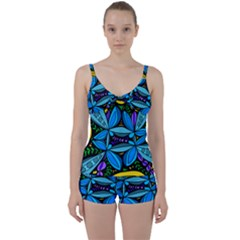 Star Polka Natural Blue Yellow Flower Floral Tie Front Two Piece Tankini by Mariart