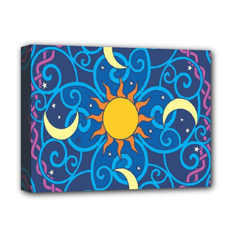 Sun Moon Star Space Vector Clipart Deluxe Canvas 16  X 12   by Mariart