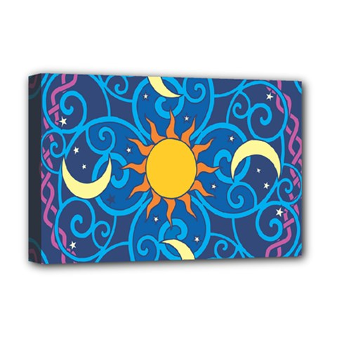 Sun Moon Star Space Vector Clipart Deluxe Canvas 18  X 12   by Mariart