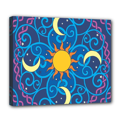 Sun Moon Star Space Vector Clipart Deluxe Canvas 24  X 20   by Mariart