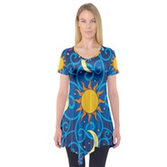 Sun Moon Star Space Vector Clipart Short Sleeve Tunic  by Mariart