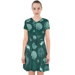 Vector Seamless Pattern With Sea Fauna Seaworld Adorable In Chiffon Dress