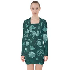 Vector Seamless Pattern With Sea Fauna Seaworld V Neck Bodycon Long Sleeve Dress