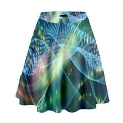 Waveslight Chevron Line Net Blue High Waist Skirt by Mariart