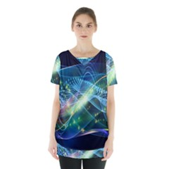 Waveslight Chevron Line Net Blue Skirt Hem Sports Top