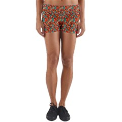 Surface Patterns Bright Flower Floral Sunflower Yoga Shorts by Mariart