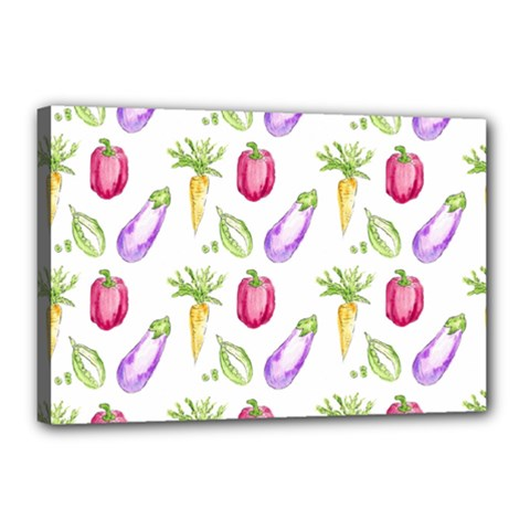 Vegetable Pattern Carrot Canvas 18  X 12  by Mariart