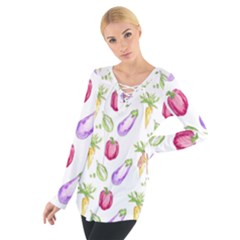 Vegetable Pattern Carrot Tie Up Tee by Mariart