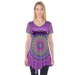 Art Mandala Design Ornament Flower Short Sleeve Tunic