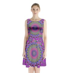 Art Mandala Design Ornament Flower Sleeveless Waist Tie Chiffon Dress