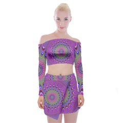 Art Mandala Design Ornament Flower Off Shoulder Top With Skirt Set
