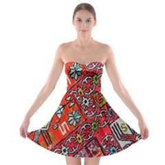 Carpet Orient Pattern Strapless Bra Top Dress