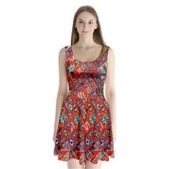Carpet Orient Pattern Split Back Mini Dress