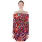 Carpet Orient Pattern Long Sleeve Off Shoulder Dress