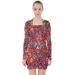 Carpet Orient Pattern V-neck Bodycon Long Sleeve Dress