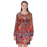 Carpet Orient Pattern Long Sleeve Chiffon Shift Dress