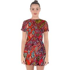 Carpet Orient Pattern Drop Hem Mini Chiffon Dress