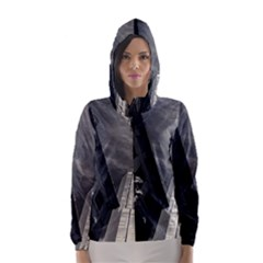 Chicago Skyline Tall Buildings Hooded Wind Breaker (women)