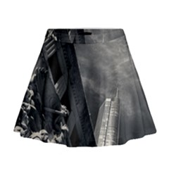 Chicago Skyline Tall Buildings Mini Flare Skirt