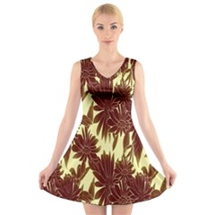 Floral Pattern Background V Neck Sleeveless Skater Dress
