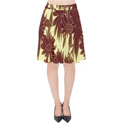 Floral Pattern Background Velvet High Waist Skirt by BangZart