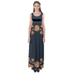 Floral Vintage Royal Frame Pattern Empire Waist Maxi Dress