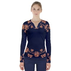 Floral Vintage Royal Frame Pattern V Neck Long Sleeve Top