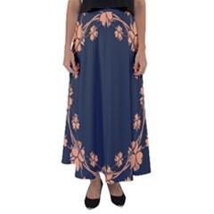 Floral Vintage Royal Frame Pattern Flared Maxi Skirt