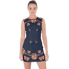 Floral Vintage Royal Frame Pattern Lace Up Front Bodycon Dress