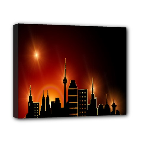 Gold Golden Skyline Skyscraper Canvas 10  X 8  by BangZart