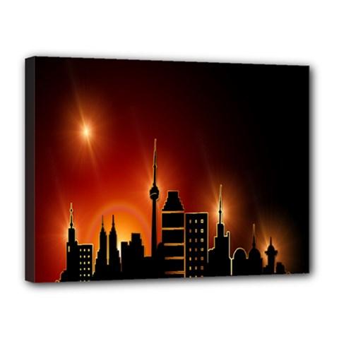 Gold Golden Skyline Skyscraper Canvas 16  X 12  by BangZart