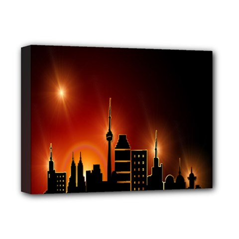 Gold Golden Skyline Skyscraper Deluxe Canvas 16  X 12   by BangZart