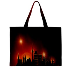 Gold Golden Skyline Skyscraper Zipper Mini Tote Bag by BangZart