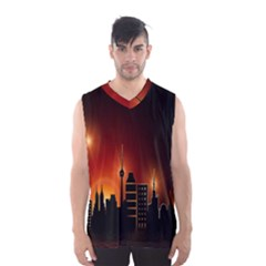 Gold Golden Skyline Skyscraper Men s Basketball Tank Top