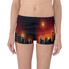Gold Golden Skyline Skyscraper Reversible Boyleg Bikini Bottoms