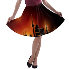 Gold Golden Skyline Skyscraper A Line Skater Skirt