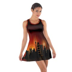 Gold Golden Skyline Skyscraper Cotton Racerback Dress