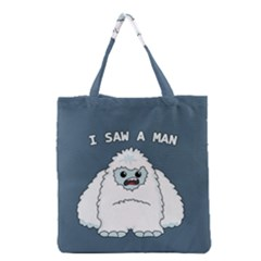 Yeti   I Saw A Man Grocery Tote Bag by Valentinaart