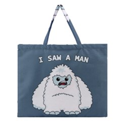 Yeti   I Saw A Man Zipper Large Tote Bag by Valentinaart
