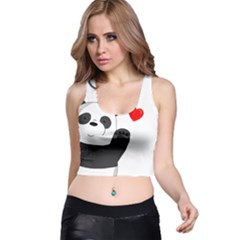 Cute Panda Racer Back Crop Top