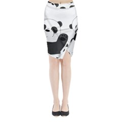 Cute Pandas Midi Wrap Pencil Skirt