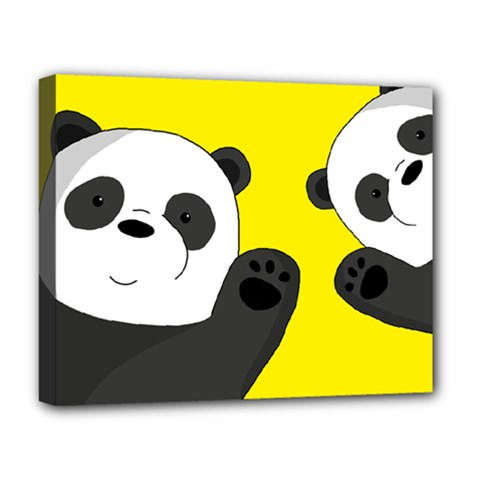 Cute Pandas Deluxe Canvas 20  X 16   by Valentinaart