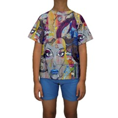 Graffiti Mural Street Art Painting Kids  Short Sleeve Swimwear