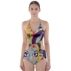 Graffiti Mural Street Art Painting Cut Out One Piece Swimsuit