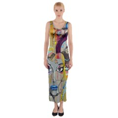 Graffiti Mural Street Art Painting Fitted Maxi Dress