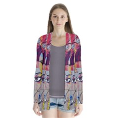 Graffiti Mural Street Art Painting Drape Collar Cardigan