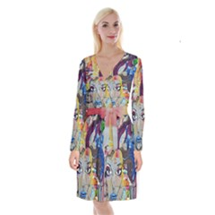 Graffiti Mural Street Art Painting Long Sleeve Velvet Front Wrap Dress