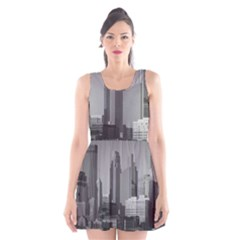 Minneapolis Minnesota Skyline Scoop Neck Skater Dress